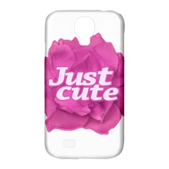 Just Cute Text Over Pink Rose Samsung Galaxy S4 Classic Hardshell Case (pc+silicone) by dflcprints