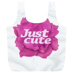 Just Cute Text Over Pink Rose Full Print Recycle Bags (l)  by dflcprints