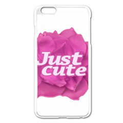 Just Cute Text Over Pink Rose Apple Iphone 6 Plus/6s Plus Enamel White Case by dflcprints