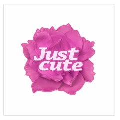 Just Cute Text Over Pink Rose Large Satin Scarf (square) by dflcprints