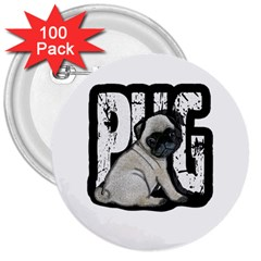 Pug 3  Buttons (100 Pack)  by Valentinaart