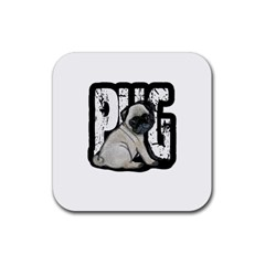 Pug Rubber Coaster (square)  by Valentinaart