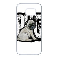 Pug Samsung Galaxy S7 Edge White Seamless Case by Valentinaart