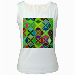 Abstract Pattern Background Design Women s White Tank Top
