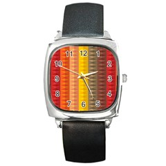 Abstract Pattern Background Square Metal Watch by Nexatart