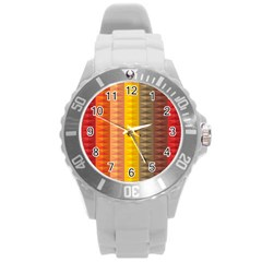 Abstract Pattern Background Round Plastic Sport Watch (l)