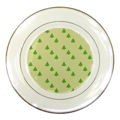 Christmas Wrapping Paper Pattern Porcelain Plates by Nexatart
