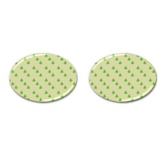 Christmas Wrapping Paper Pattern Cufflinks (oval) by Nexatart