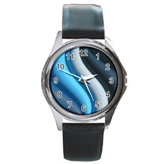 Abstract Pattern Lines Wave Round Metal Watch by Nexatart