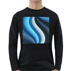 Abstract Pattern Lines Wave Long Sleeve Dark T Shirts