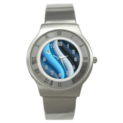 Abstract Pattern Lines Wave Stainless Steel Watch by Nexatart