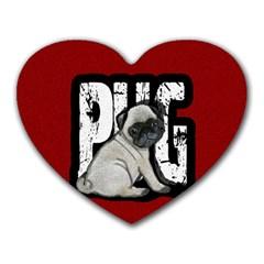 Pug Heart Mousepads by Valentinaart