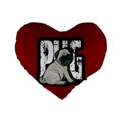 Pug Standard 16  Premium Flano Heart Shape Cushions by Valentinaart