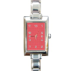 Pattern Diamonds Box Red Rectangle Italian Charm Watch