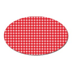 Pattern Diamonds Box Red Oval Magnet by Nexatart