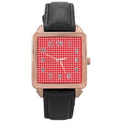 Pattern Diamonds Box Red Rose Gold Leather Watch