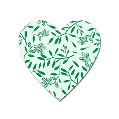 Leaves Foliage Green Wallpaper Heart Magnet by Nexatart