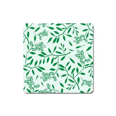 Leaves Foliage Green Wallpaper Square Magnet by Nexatart