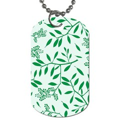 Leaves Foliage Green Wallpaper Dog Tag (one Side) by Nexatart