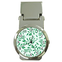 Leaves Foliage Green Wallpaper Money Clip Watches by Nexatart