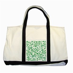 Leaves Foliage Green Wallpaper Two Tone Tote Bag by Nexatart