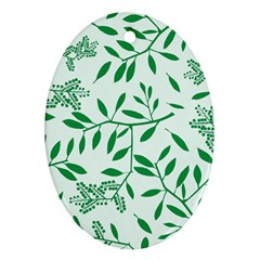 Leaves Foliage Green Wallpaper Oval Ornament (two Sides) by Nexatart