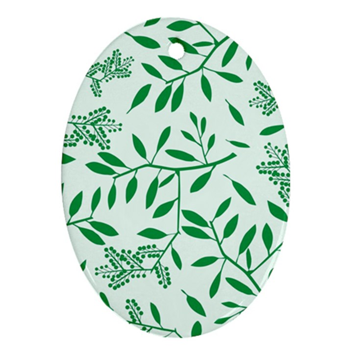 Leaves Foliage Green Wallpaper Oval Ornament (Two Sides)