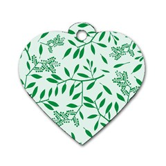 Leaves Foliage Green Wallpaper Dog Tag Heart (one Side) by Nexatart