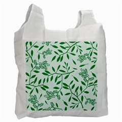 Leaves Foliage Green Wallpaper Recycle Bag (one Side) by Nexatart