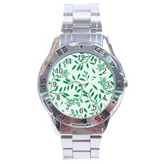 Leaves Foliage Green Wallpaper Stainless Steel Analogue Watch by Nexatart