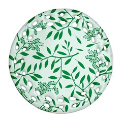 Leaves Foliage Green Wallpaper Ornament (round Filigree) by Nexatart