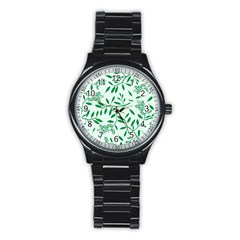 Leaves Foliage Green Wallpaper Stainless Steel Round Watch by Nexatart
