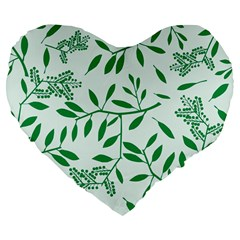 Leaves Foliage Green Wallpaper Large 19  Premium Flano Heart Shape Cushions by Nexatart