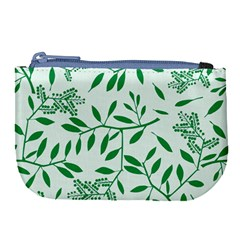 Leaves Foliage Green Wallpaper Large Coin Purse by Nexatart