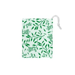 Leaves Foliage Green Wallpaper Drawstring Pouches (xs)