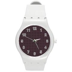 Pattern Background Star Round Plastic Sport Watch (m)
