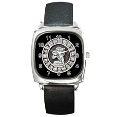 Pattern Motif Decor Square Metal Watch