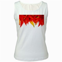 Abstract Autumn Background Bright Women s White Tank Top