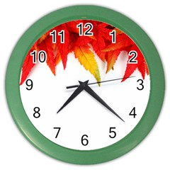 Abstract Autumn Background Bright Color Wall Clocks by Nexatart