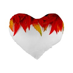 Abstract Autumn Background Bright Standard 16  Premium Flano Heart Shape Cushions by Nexatart