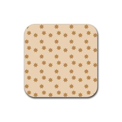 Pattern Gingerbread Star Rubber Coaster (square)