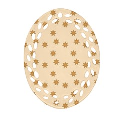 Pattern Gingerbread Star Oval Filigree Ornament (two Sides)