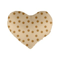 Pattern Gingerbread Star Standard 16  Premium Flano Heart Shape Cushions by Nexatart