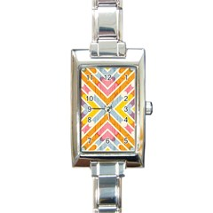 Line Pattern Cross Print Repeat Rectangle Italian Charm Watch by Nexatart
