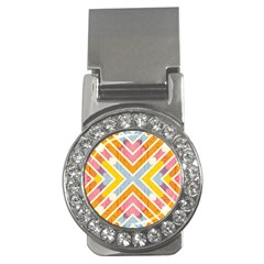 Line Pattern Cross Print Repeat Money Clips (cz)  by Nexatart
