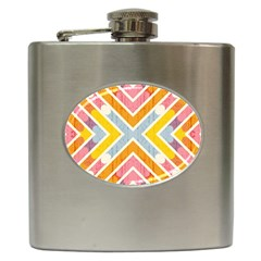 Line Pattern Cross Print Repeat Hip Flask (6 Oz) by Nexatart