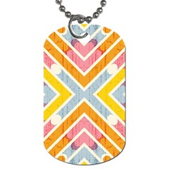 Line Pattern Cross Print Repeat Dog Tag (two Sides) by Nexatart