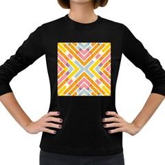 Line Pattern Cross Print Repeat Women s Long Sleeve Dark T Shirts