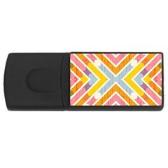Line Pattern Cross Print Repeat Usb Flash Drive Rectangular (4 Gb) by Nexatart