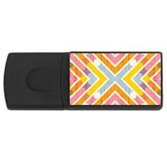 Line Pattern Cross Print Repeat Usb Flash Drive Rectangular (4 Gb)